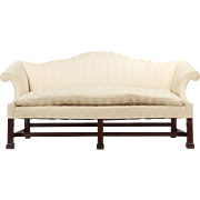 Fine Reproduction American Chippendale Camel Back Sofa over Marlborough Feet, 20th Century