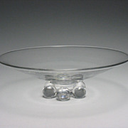 Beautiful Mid Century Modern Steuben Crystal John Dreve Ball Foot Low Bowl