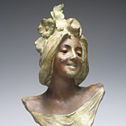 REDUCED Art Nouveau Le Printemps Lady Spelter Bust Early 20th Century
