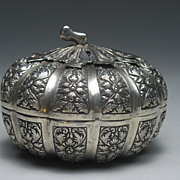 REDUCED Antique Southeast Asian Silver Betel Nut Repousse Box