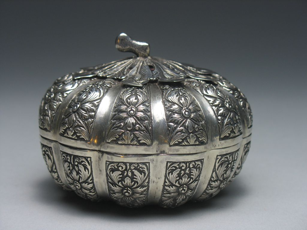 Antique Southeast Asian Silver Betel Nut Repousse Box