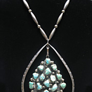 REDUCED Native American Navajo Silver Turquoise Necklace Signed CYS