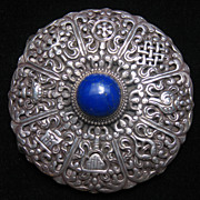REDUCED Sterling Silver Lapis Lazuli Belt Buckle with Eight Auspicious Symbols of Buddhism