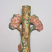 REDUCED Vintage Weller Pottery Woodcraft Apple Blossom Wall Pocket Vase