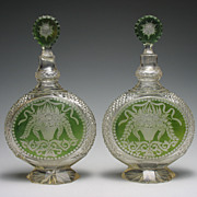 REDUCED Antique Pair of Green Glass Cut to Clear Decanters