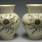 REDUCED Vintage Hand Painted Thomas Ivory Bavaria Silberdistel Thistle Vases ca 1940s