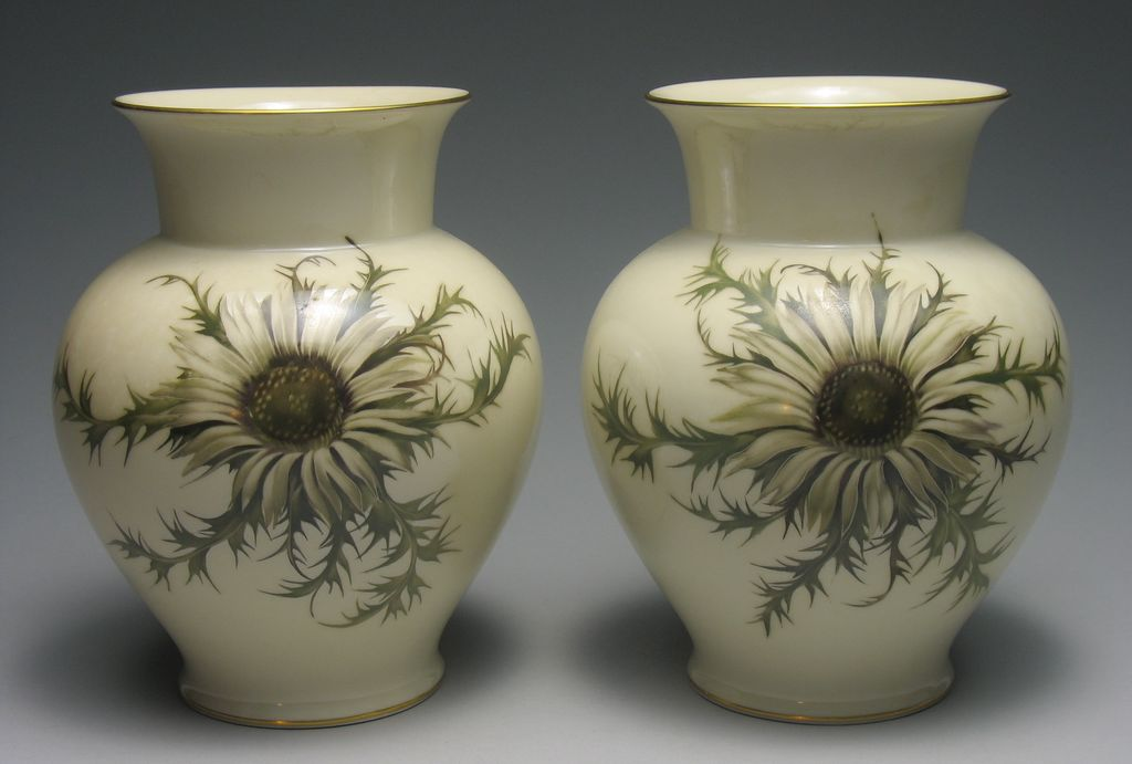 Vintage Hand Painted Thomas Ivory Bavaria Silberdistel Thistle Vases ca 1940s