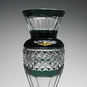 REDUCED Val St Lambert Dark Green Cut to Clear Glass Vase
