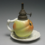 REDUCED Charming Rare 19th Century Porcelain Apple Finger Oil Lamp