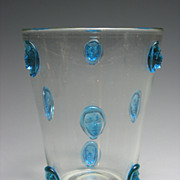 REDUCED Vintage Art Glass Vase with Hand Blown Face Prunts