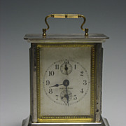 REDUCED Vintage Chrome and Brass French Carriage Alarm Clock