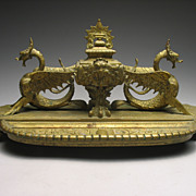 REDUCED Antique French Brass Dragon Inkwell