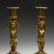 REDUCED Beautiful Pair French Empire Gold Gilt Putti Candlesticks
