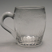 REDUCED 19th Century Hand Blown & Cut Glass Handled Cup