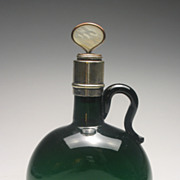 REDUCED 19th Century Green Glass Wine or Spirit Flagon Decanter