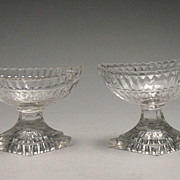 Pair of Antique Cut Glass Pedestal Salts