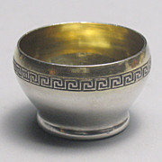 Russian 875 Silver Vermeil Open Salt with Greek Key Pattern