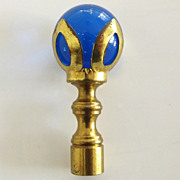 Blue Glass and Brass Lamp Finial