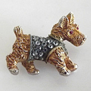 Adorable Scottie Dog Pin with Rhinestone Sweater