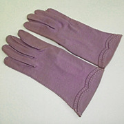 Lovely Pair 1950s Hansen Ladies Mauve Fabric Gloves Size 7