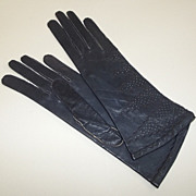 1950s Max Mayer's Navy Blue Leather Gloves with Stitched Design Never Worn
