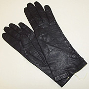 Mantessa Made in Belgium 1950s Ladies Gloves Black Kid Leather Size 6