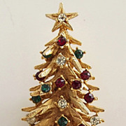 Art Rhinestone Christmas Tree Pin
