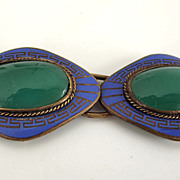 Czechoslovakia Art Deco Blue Enamel Belt Buckle
