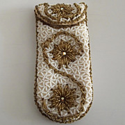 Delill White and Gold Tone Seed Beaded Eye Glass Case