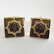 Ornate Damascene Cuff Links