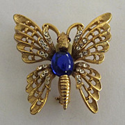 Coro Cobalt Blue Cabochon and Clear Rhinestone Butterfly Pin