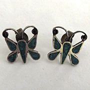 Taxco Mexico 925 Butterfly Post Earrings with Inlaid Turquoise Chips