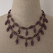 Sublime Purple Crystal Festoon Necklace