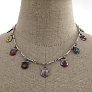 1950s Souvenir Necklace with 9 European City Charms 830 Silver and Enamel