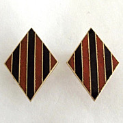 Accessocraft Terra Cotta and Black Enamel Striped Earrings