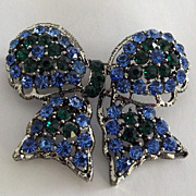 Weiss Blue and Green Rhinestone Bow Pin