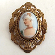 Lovely Lady Portrait Transfer on Porcelain Pin