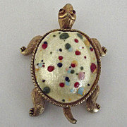 Adorable Enameled Confetti Shell Turtle Pin
