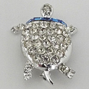Pell Clear and Blue Rhinestone Turtle Pin