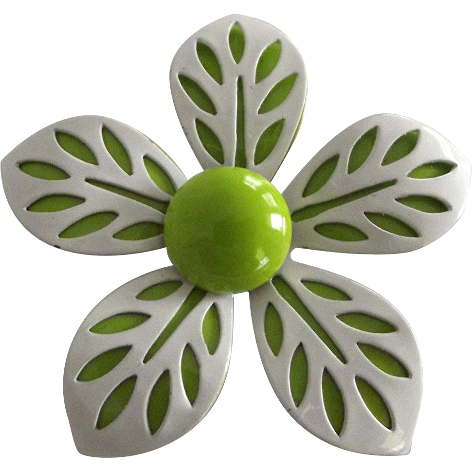 Vintage Green and White Metal Flower Pin