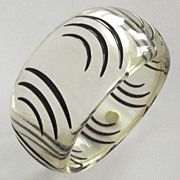 Zebra Stripes Clear Lucite Bangle Bracelet