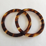 Pair Made in France Simulated Tortoise Lucite Bangles