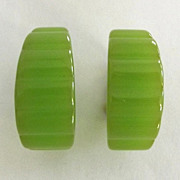 Scalloped Edge Green Bakelite Earrings