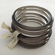 Five Made in Western Germany Gray Plastic Oval Bangles Original Tags