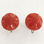 1940s Carved Orange Bakelite Flower Screw Back Button Earrings
