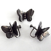 The Tiniest Sterling Butterfly Pin and Earring Set