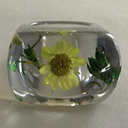 Tinted Blue Lucite Ring with Suspended Yellow Flower and Green Leaves