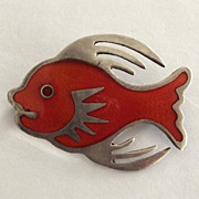 Taxco Mexico 925 Sterling and Orange Enamel Fish Pin