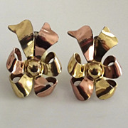 Monet Sterling Two Tone Bow Ribbon Earrings
