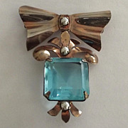 Retro Sterling Bow Dangle Pin with Aqua Glass